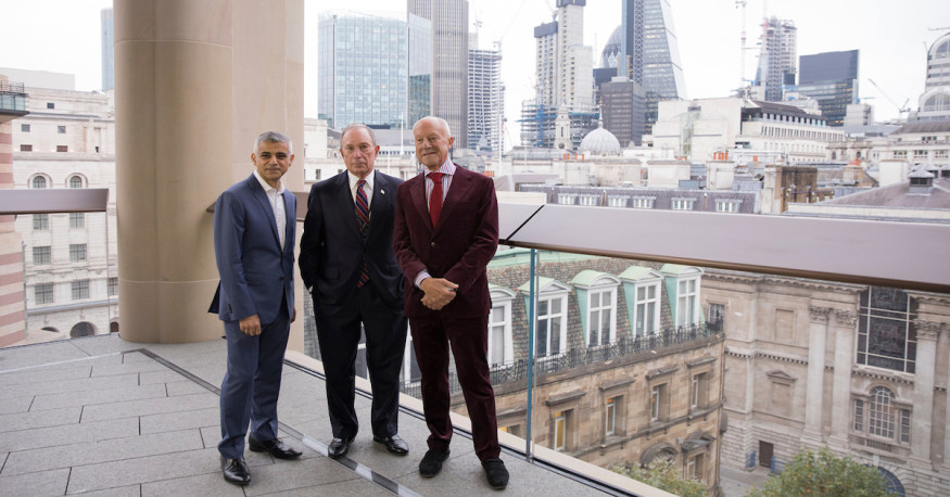 Sadiq Khan (Mayor of London), Mike Bloomberg, Norman Foster © Creative Commons, Flickr